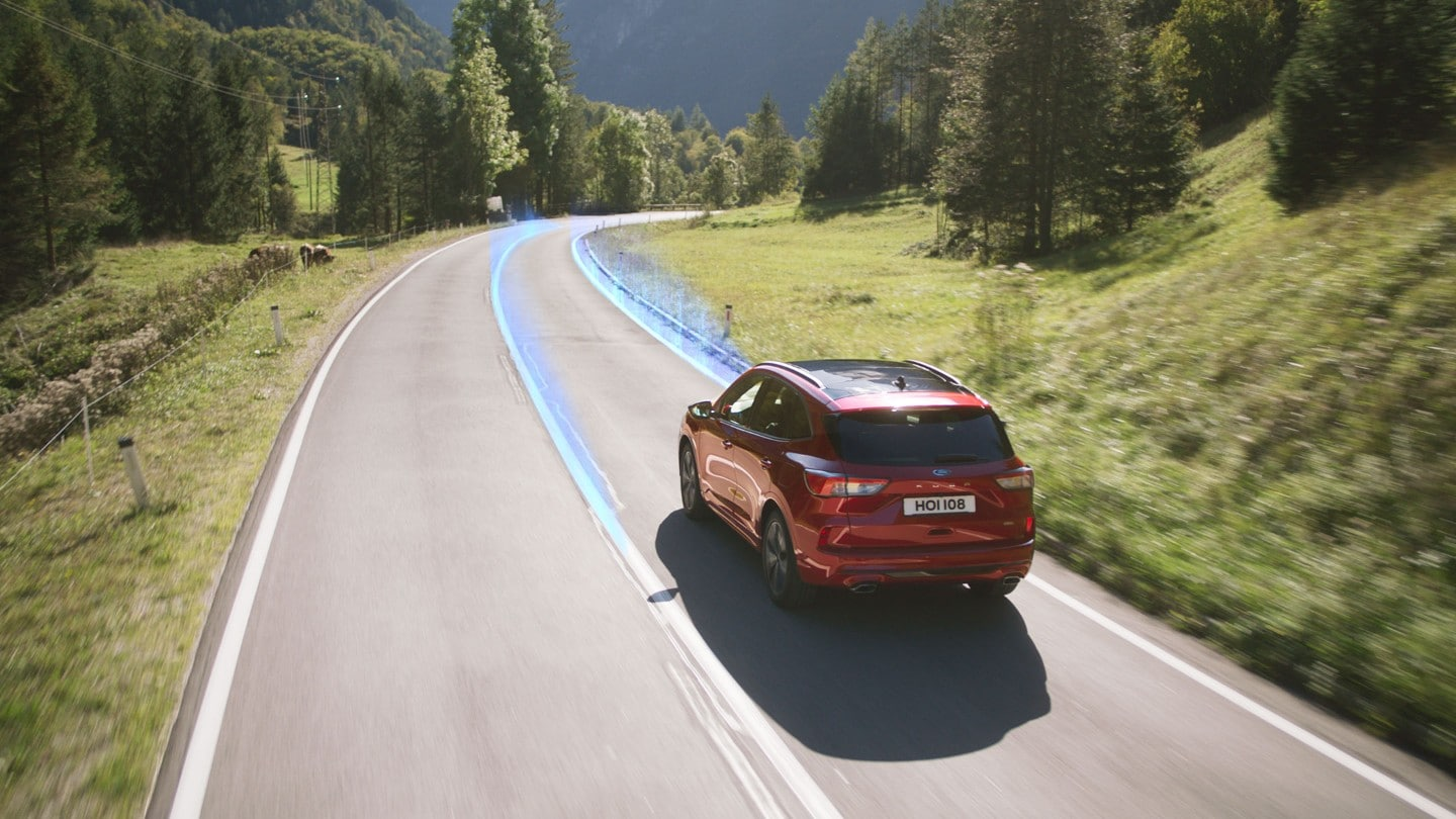 New Ford Kuga demonstrating lane keeping system